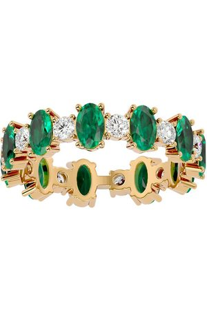 SuperJeweler Women Rings - 14K (3.20 g) 3 3/4 Carat Emerald & Moissanite Eternity Ring