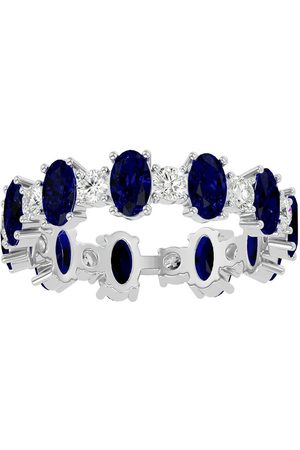 SuperJeweler Women Rings - 14K (3.10 g) 3 Carat Sapphire & Moissanite Eternity Ring