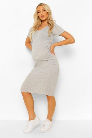 Boohoo Womens Maternity Lettuce Edge V-Neck Bodycon Dress - - 4
