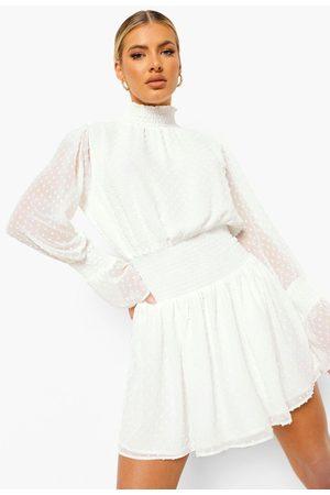Boohoo Womens Dobby High Neck Shirred Mini Dress - - 4