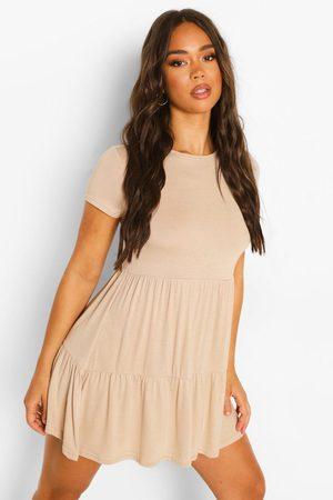 Boohoo Womens Short Sleeve Drop Hem Smock Dress - - 4