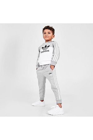 adidas Kids' Toddler and Little Kids' Originals Sliced Trefoil Pullover Hoodie and Jogger Pants Set in Grey/Grey