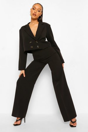 Boohoo Women Formal Pants - Womens Relaxed Fit Tailored Wide Leg Pants - - 4