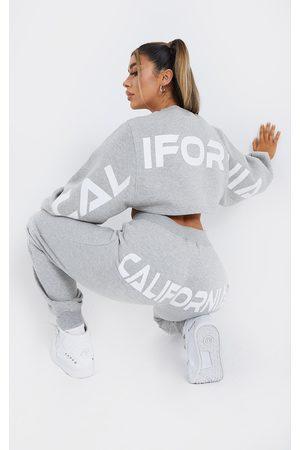 PRETTYLITTLETHING Women Sweatpants - Grey California Printed Bum Joggers