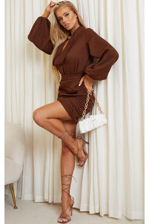 PRETTYLITTLETHING Women Party Dresses - Chocolate Woven Ruched Seam Front Mini Skirt