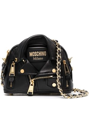 Moschino Women Shoulder Bags - Biker jacket-style leather crossbody bag