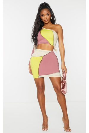 PRETTYLITTLETHING Women Bodycon Dresses - Shape Stone Cotton Panel Detail Ruched Side Bodycon Skirt