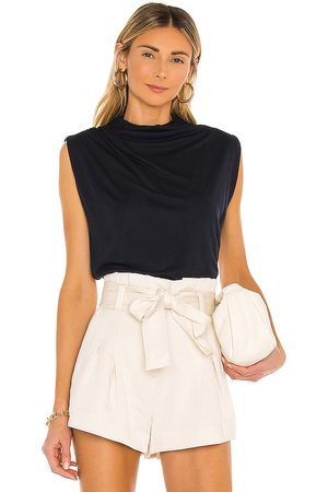 REBECCA TAYLOR T Neck Shell Top in Black.