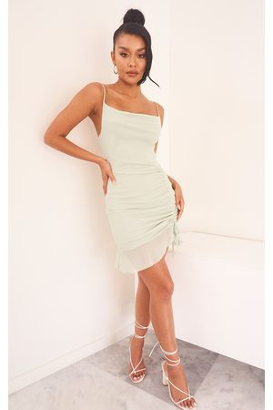 PRETTYLITTLETHING Women Bodycon Dresses - Sage Mesh Ruched Bodycon Dress