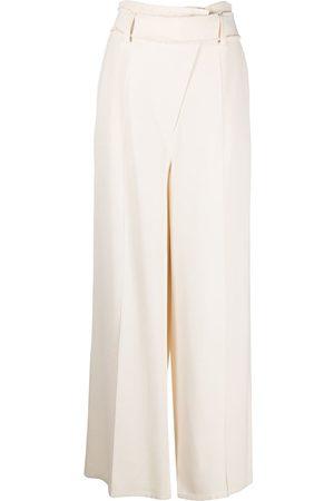 AERON Women Wide Leg Pants - Belted wide-leg trousers - Neutrals