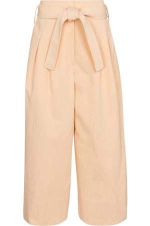 Jil Sander Women Wide Leg Pants - Belted cotton wide-leg pants