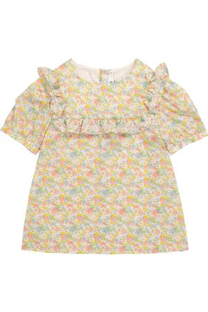 BONPOINT Girls Blouses - Sateen floral cotton blouse