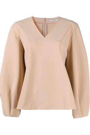 Nina Ricci Flared v-neck blouse - Neutrals
