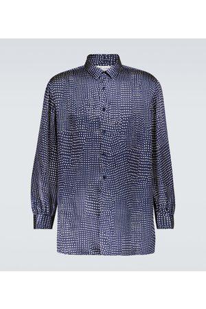 Saint Laurent Men Long sleeves - Polka-dot long-sleeved silk shirt