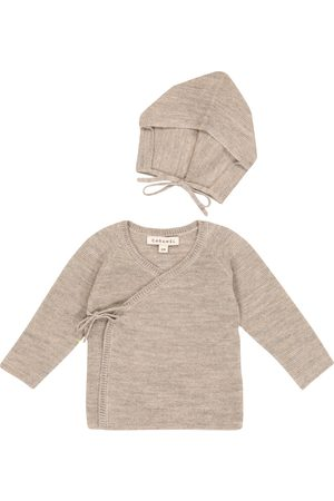 Caramel Sets - Baby Angelfish wool and linen cardigan and hat set