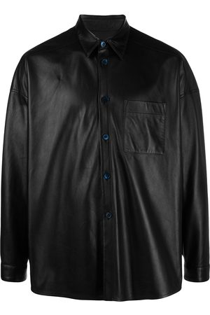 Marni Chest pocket-detail leather shirt