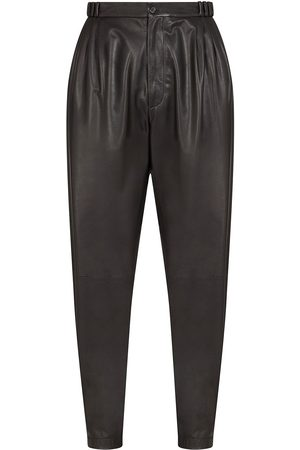Dolce & Gabbana Men Leather Pants - Lambskin leather tapered trousers
