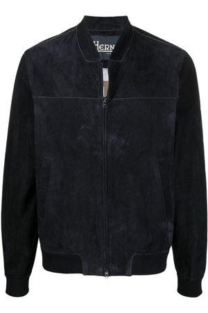 HERNO Contrast-stitch collarless bomber jacket