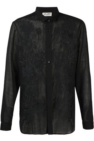 Saint Laurent Men Long sleeves - Embroidered long-sleeve shirt