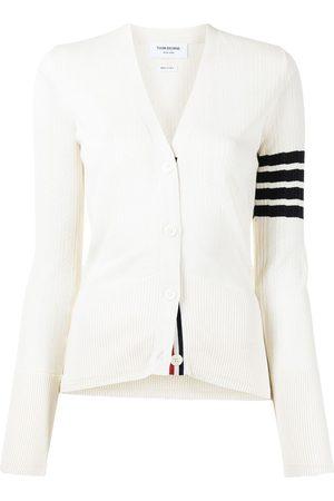 Thom Browne Women Cardigans - 4-Bar V-neck mesh rib cardigan