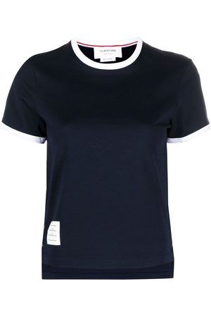 Thom Browne SHORT SLEEVE RINGER TEE IN MEDIUM WEIGHT JERSEY 40/2