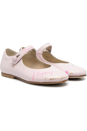 BONPOINT Graphic-print leather ballerina shoes