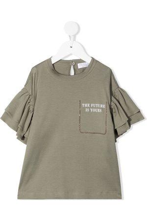 Brunello Cucinelli Ruffle-sleeve T-shirt