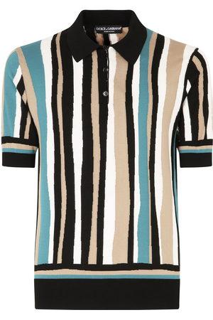 Dolce & Gabbana Men Polo Shirts - Vertical-stripe short-sleeve polo shirt