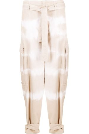 Stella McCartney Women Tapered - Tie-dye belted tapered jeans - Neutrals
