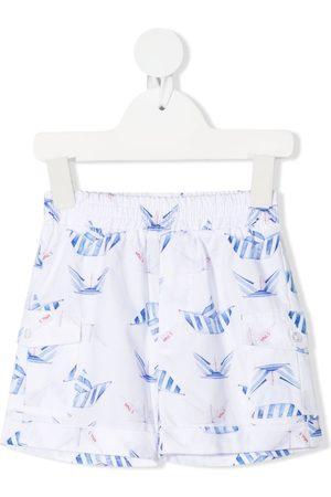 MONNALISA Shorts - Paper boat-print cotton shorts