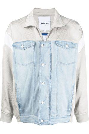KOCHÉ Men Denim Jackets - Contrast denim jacket