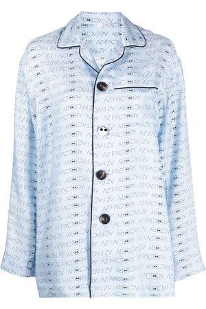AZ FACTORY AZ logo-print silk pyjama top