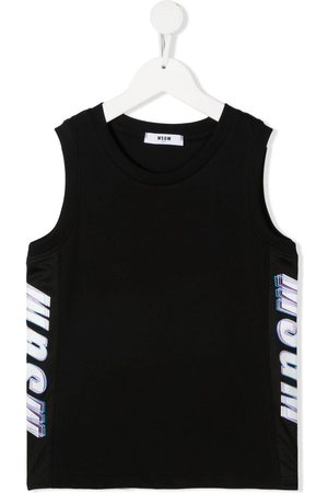 MSGM Kids Logo-print cotton tank top
