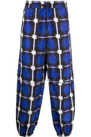 MARCELO BURLON Men Sweatpants - Check-print track pants