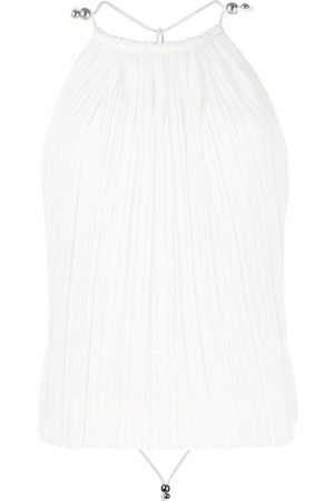 DION LEE Women Backless Tops - Open back pleated blouse