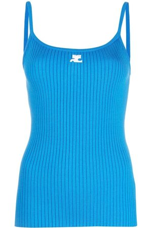 Courrèges Women Camisoles - Logo print ribbed knit top