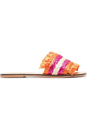 MANEBI Women Sandals - Colour-block braided raffia sandals