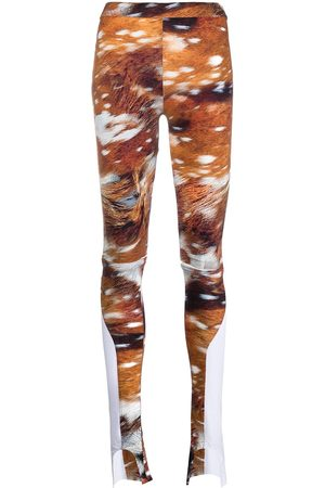 Lourdes Graphic-print cut-out leggings