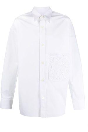 VALENTINO Men Shirts - Floral lace pocket shirt