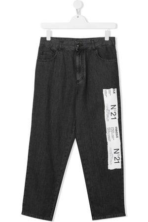 Nº21 TEEN logo print straight jeans - Grey