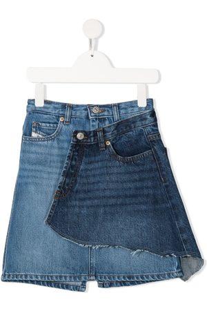 Diesel Ripped panel overlay denim skirt