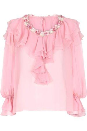 Dolce & Gabbana Ruffle-detail silk-chiffon blouse