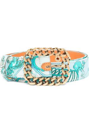 Etro Women Belts - Chain-link buckle printed belt