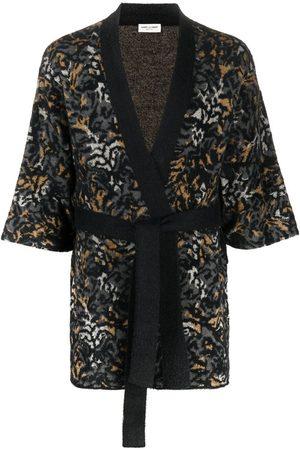 Saint Laurent Leopard-knit cardigan