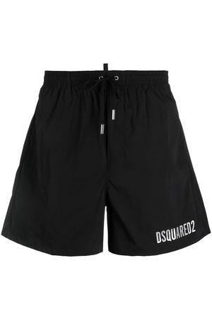 Dsquared2 Men Swim Shorts - Icon metallic-logo drawstring swim shorts