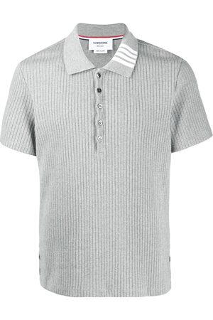 Thom Browne Ribbed short-sleeve polo shirt - Grey