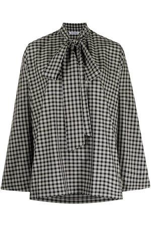 Balenciaga Check cocoon pussy-bow blouse
