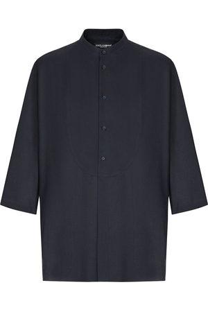 Dolce & Gabbana Men Shirts - Cropped-sleeve collarless shirt