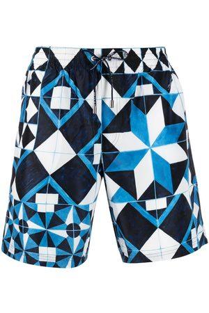 Dolce & Gabbana Men Swim Shorts - Diamond tile swimming shorts