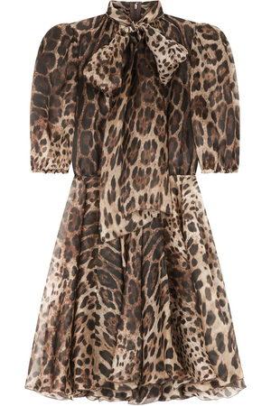 Dolce & Gabbana Leopard-print pussybow dress